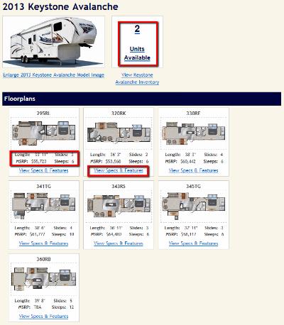 RV Model Page - SpecBase
